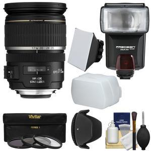 Canon EF-S 17-55mm f/2.8 IS USM Zoom Lens with Flash + 3 Filters + Diffusers + Hood + Kit