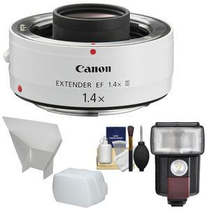 Canon EF 1.4x Extender III Lens Teleconverter with Flash and LED Video Light and Diffuser and Bounce Reflector and Kit
