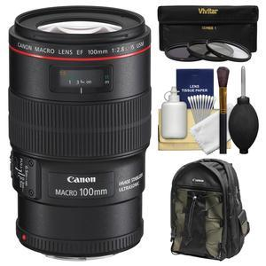Canon EF 100mm f-2.8 L IS Macro USM Lens with Canon Backpack and 3 UV-CPL-ND8 Filters and Kit