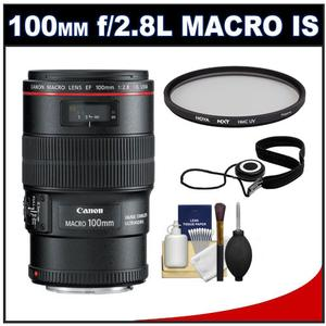 Canon EF 100mm f-2.8 L IS Macro USM Lens with Hoya Multi-Coated UV Filter and Accessory Kit