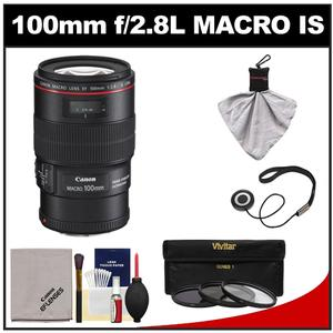 Canon EF 100mm f/2.8 L IS Macro USM Lens with 3 UV/CPL/ND8 Filters + Accessory Kit