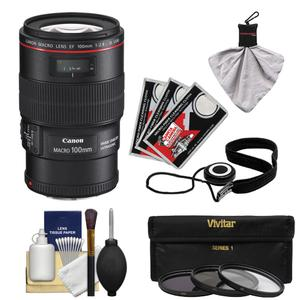 Canon EF 100mm f-2.8 L IS Macro USM Lens with 3 UV-CPL-ND8 Filters and Accessory Kit