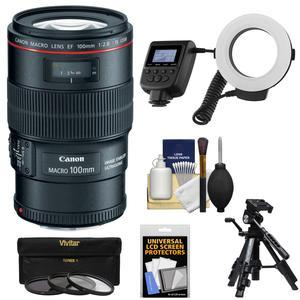 Canon EF 100mm f-2.8 L IS Macro USM Lens with Ringlight and Tripod and 3 Filters Kit