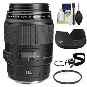 Canon EF 100mm f-2.8 Macro USM Lens with Filter and Lens Hood and Accessory Kit