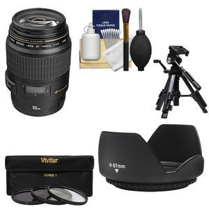 Canon EF 100mm f-2.8 Macro USM Lens with 3 UV-CPL-ND8 Filters and Lens Hood and Macro Tripod and Cleaning Kit