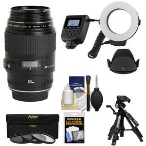 Canon EF 100mm f-2.8 Macro USM Lens with Ringlight and Tripod and Hood and 3 Filters Kit
