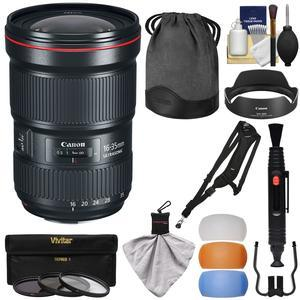 Canon EF 16-35mm f-2.8L III USM Zoom Lens with 3 UV-CPL-ND8 Filters and Flash Diffusers and Sling Strap and Kit