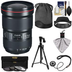 Canon EF 16-35mm f-2.8L III USM Zoom Lens with 3 UV-CPL-ND8 Filters and Pistol Grip Tripod and Kit
