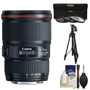 Canon EF 16-35mm f-4L IS USM Zoom Lens with Canon Tripod and 3 Filters Kit