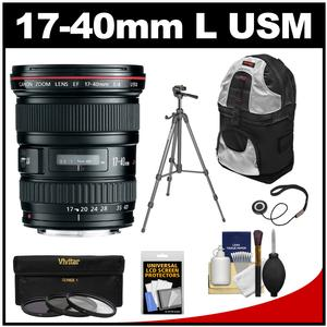 Canon EF 17-40mm f/4 L USM Zoom Lens with Tripod + 3 Filters + Backpack + Kit