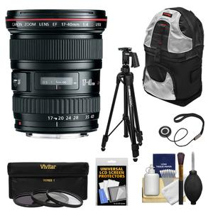 Canon EF 17-40mm f/4 L USM Zoom Lens with Tripod and 3 Filters and Backpack and Kit
