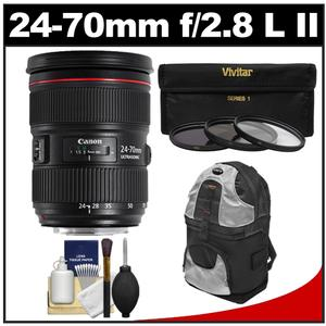 Canon EF 24-70mm f/2.8 L II USM Zoom Lens with Backpack + 3 UV/ND8/CPL Filters + Cleaning Kit