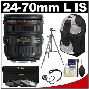 Canon EF 24-70mm f/4L IS USM Zoom Lens with Tripod + Sling Backpack + 3 Filters Kit