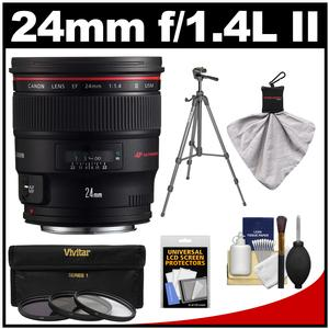 Canon EF 24mm f/1.4L II USM Lens with Tripod + 3 Filters Kit