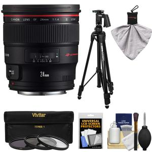 Canon EF 24mm f-1.4L II USM Lens with Tripod and 3 Filters Kit