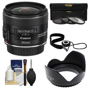 Canon EF 24mm f-2.8 IS USM Lens with 3-UV-CPL-ND8-Filters and Lens Hood and Accessory Kit