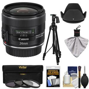 Canon EF 24mm f-2.8 IS USM Lens with Tripod and 3 Filters and Hood and Kit