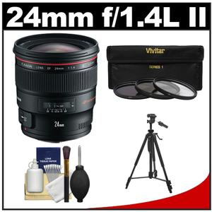 Canon EF 24mm f-1.4L II USM Lens with 3-UV-ND8-CPL-Filters and Tripod and Cleaning Kit