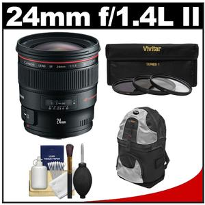 Canon EF 24mm f-1.4L II USM Lens with 3-UV-ND8-CPL-Filters and Backpack Case and Cleaning Kit