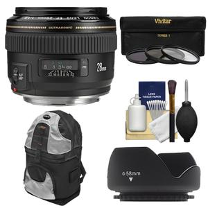 Canon EF 28mm f-1.8 USM Lens with Hood and 3-UV-CPL-ND8-Filters and Backpack Case and Cleaning Kit