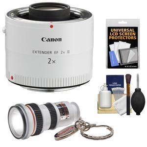 Canon EF 2x Extender III Lens Teleconverter with LED Flashlight and Screen Protectors and Kit