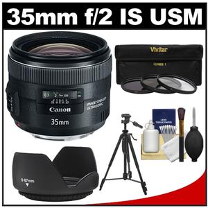 Canon EF 35mm f-2 IS USM Lens with 3 UV-ND8-CPL Filters and Hood and Tripod and Cleaning Kit