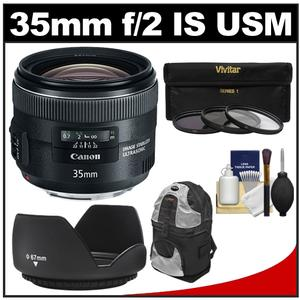 Canon EF 35mm f-2 IS USM Lens with Sling Backpack and 3 UV-ND8-CPL Filters and Hood and Cleaning Kit