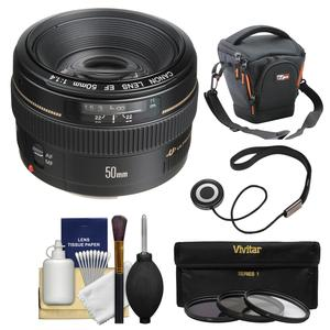 Canon EF 50mm f-1.4 USM Lens with Case and 3 Filters and Accessory Kit