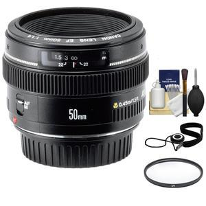 Canon EF 50mm f-1.4 USM Lens with UV Filter and Accessory Kit