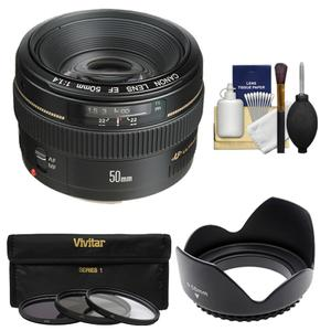 Canon EF 50mm f-1.4 USM Lens with 3 UV-CPL-ND8 Filters and Hood and Cleaning Kit