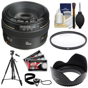 Canon EF 50mm f-1.4 USM Lens with UV Filter and Hood and Tripod and Accessory Kit