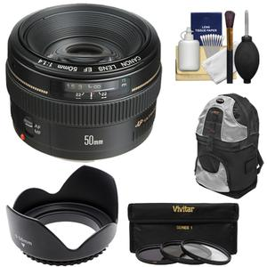 Canon EF 50mm f-1.4 USM Lens with Backpack and 3 UV-CPL-ND8 Filters and Hood and Cleaning Kit