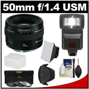Canon EF 50mm f-1.4 USM Lens with 3 Filters and Hood and Flash and 2 Diffusers and Kit