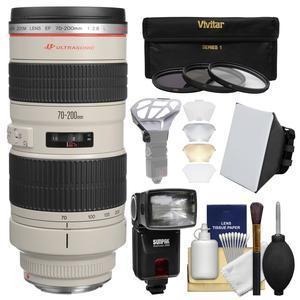 Canon EF 70-200mm f-2.8L USM Zoom Lens with Flash and Softbox and Diffuser and 3 UV-CPL-ND8 Filters and Kit