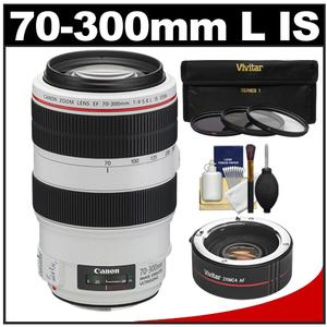 Canon EF 70-300mm f/4-5.6 L IS USM Zoom Lens with 2x Teleconverter + 3 UV/ND8/CPL Filters + Cleaning Kit