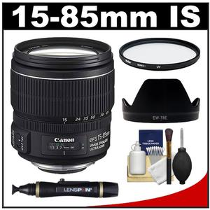 Canon EF-S 15-85mm f/3.5-5.6 IS USM Zoom Lens with EW-78E Hood + UV Filter + Cleaning Kit