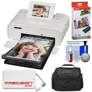 Canon SELPHY CP1200 Wi-Fi Wireless Compact Photo Printer - White - with Ink + Paper + Portable Power Bank + Case + Kit