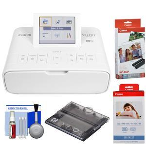 Canon SELPHY CP1300 Wi-Fi Wireless Compact Photo Printer - White - with KP-36IP and KP-108IN Color Ink Paper Set + PCC-CP400 Card Size Cassette + Kit