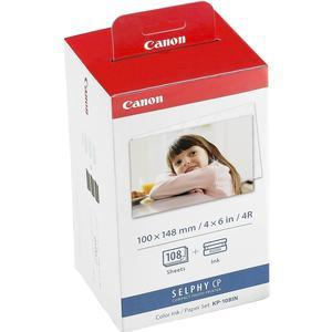 Canon KP-108IN Color Ink - Paper Set - 4x6 in - 108 Sheets - for Selphy CP Printers