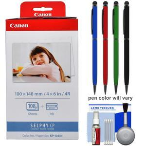 Canon KP-108IN Color Ink - Paper Set - 4x6 in - 108 Sheets - for Selphy CP Printers with Touch Stylus Pen + Kit