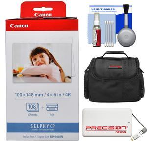 Canon KP-108IN Color Ink - Paper Set - 4x6 in - 108 Sheets - for Selphy CP Printers with Case + 5000mAh Power Bank + Kit