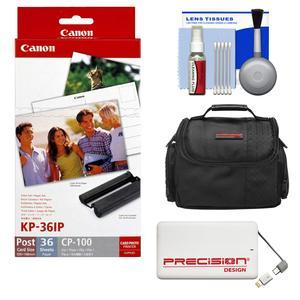 Canon KP-36IP Color Ink - Paper Set - 4x6 in - 36 Sheets - for Selphy CP Printers with Case + 5000mAh Power Bank + Kit