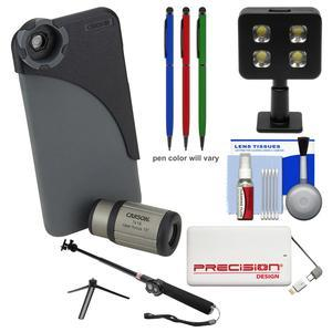 Carson HookUpz IC-618P 7x18mm Monocular Lens and Case w- Apple iPhone 6 Plus-6S Plus Adapter with Power Pack and Selfie Stick and LED Light and-3-Stylus Pens and Kit