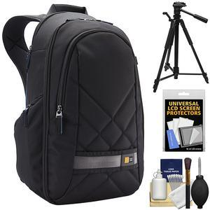 Case Logic CPL108 Small Digital SLR Camera and iPad-Tablet Backpack - Black - with Tripod + Accessory Kit