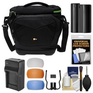 Case Logic Kontrast KDM-102 DSLR Camera Shoulder Bag with EN-EL15 Battery and Charger + Kit for Nikon D7100 D7200 D610 D750 D800 D810