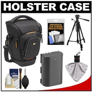 Case Logic Digital SLR Zoom Holster Camera Bag/Case (Black) (SLRC-201) with LP-E6 Battery + Tripod + Accessory Kit