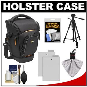 Case Logic Digital SLR Zoom Holster Camera Bag/Case (Black) (SLRC-201) with (2) LP-E8 Batteries + Tripod + Accessory Kit