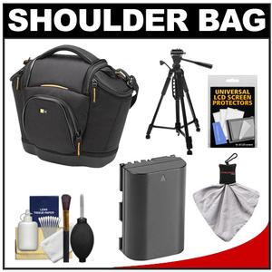Case Logic Digital SLR Medium Shoulder Bag-Case - Black - - SLRC-202 - with LP-E6 Battery + Tripod + Accessory Kit