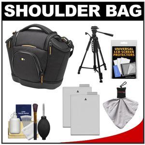 Case Logic Digital SLR Medium Shoulder Bag-Case - Black - - SLRC-202 - with - 2 - LP-E8 Batteries + Tripod + Accessory Kit