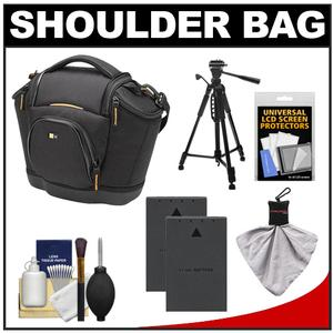 Case Logic Digital SLR Medium Shoulder Bag-Case - Black - - SLRC-202 - with - 2 - BLS-1 Batteries + Tripod + Accessory Kit